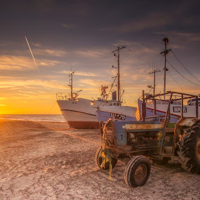 Tractor at Thorup Strand by Ole Steffensen - Transportation Other ( fishing vessels, sunset, sea, denmark, beach, thorup strand, tractor,  )