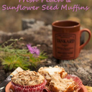 Fresh Peach and Sunflower Seed Muffins.