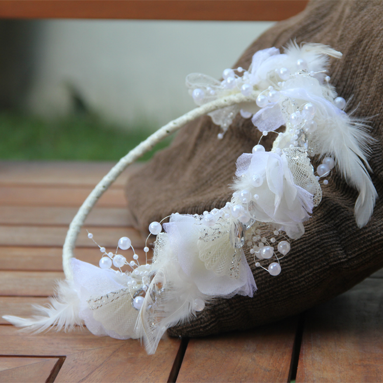 Bridal Headpiece (Feather, Rhinestones & Pearls) by Style Me Pretty