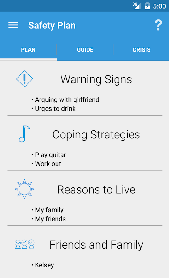 Suicide Safety Plan- screenshot