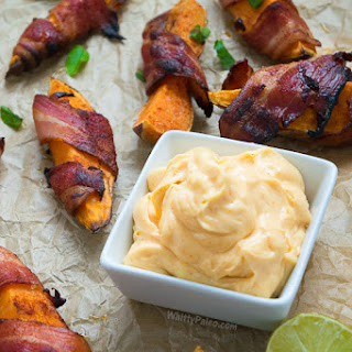 Bacon Wrapped Spicy Sweet Potato Wedges with Chilli Lime Mayo