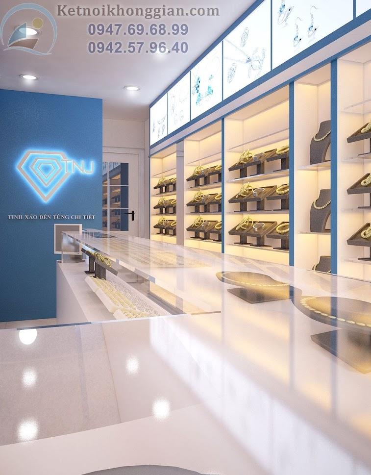 thiết kế cửa hàng trang sức sang trọng, ấm áp