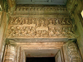 Photo: carved deities above inner doorway of main sanctuary, Phimai