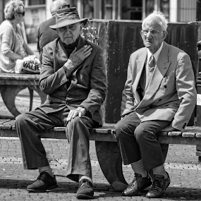 As time goes by by Tony Simcock Eadie - People Street & Candids ( bench, black and white, timeless, street, candid, men, people, portrait, , #8rtcoMagazine )