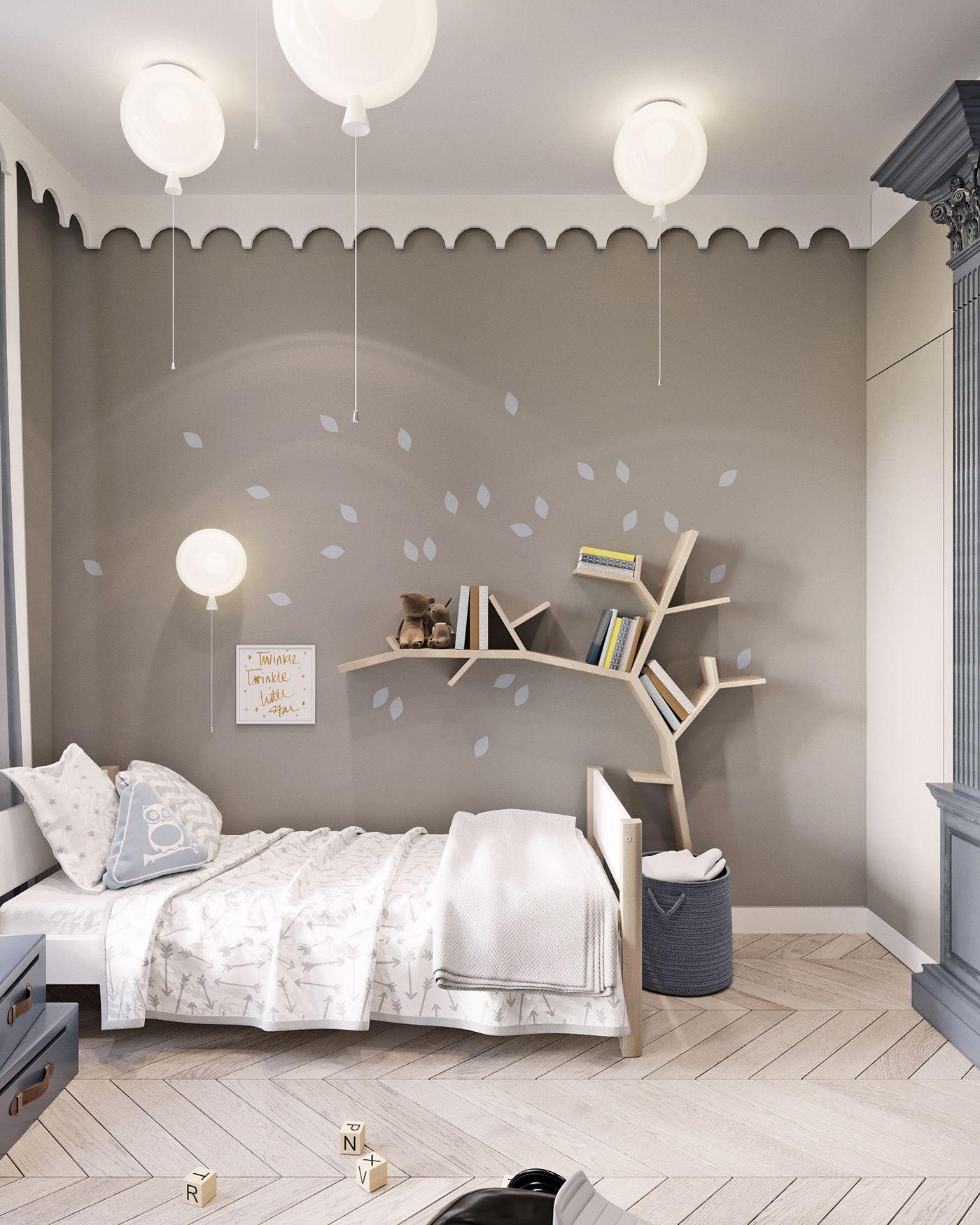 Phòng có kệ sách hình cây và đèn bong bóng