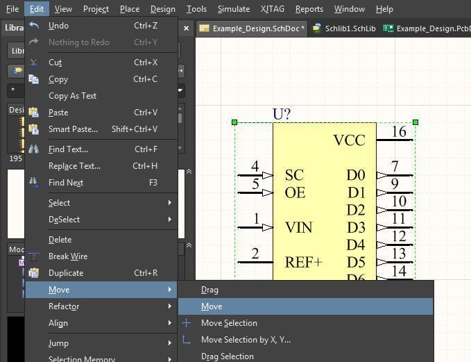 Screenshot Altium Designer 18 Spiegeln und Drehen von Bauteilen – Verschieben von Bauteilen