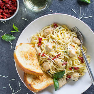 Creamy Chicken Pasta with Sun-Dried Tomatoes.