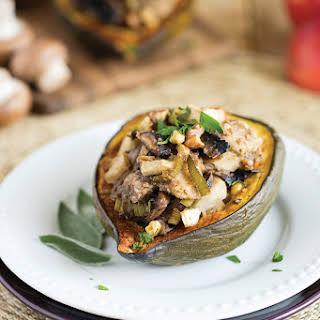 Mushroom, Apple, and Walnut Stuffed Acorn Squash.