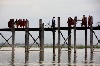 Photo: Year 2 Day 55 -  Monks Resting on U Bein's Bridge in Amarapura