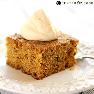 Pumpkin Walnut Cake with Caramel Whipped Cream.
