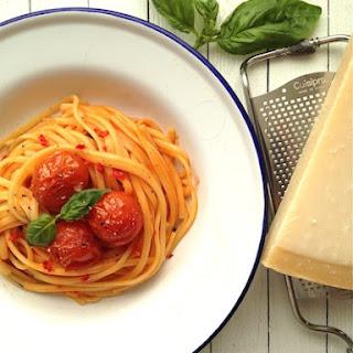 Spaghetti with Roast Cherry Tomatoes, Chili and Basil