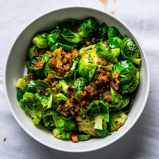 Lemony Brussels Sprouts with Bacon and Breadcrumbs.
