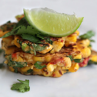 {Corn Fritters with Roasted Peppers, Cilantro and Feta} Recipe