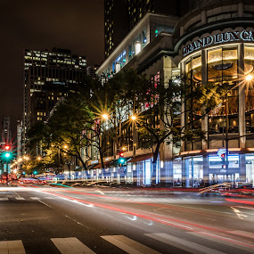 Night Moves by RomanDA Photography - City,  Street & Park  Street Scenes ( night, long exposure, chicago, night lighting street, lights, , city )