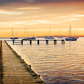 Morning On The Jetty by Tony Buckley - Landscapes Sunsets & Sunrises ( sky, yacht, cloud, sunrise, jetty )