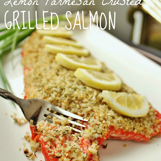 Lemon Parmesan Crusted Grilled Salmon.