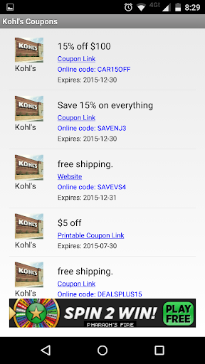 Coupons for Kohl's