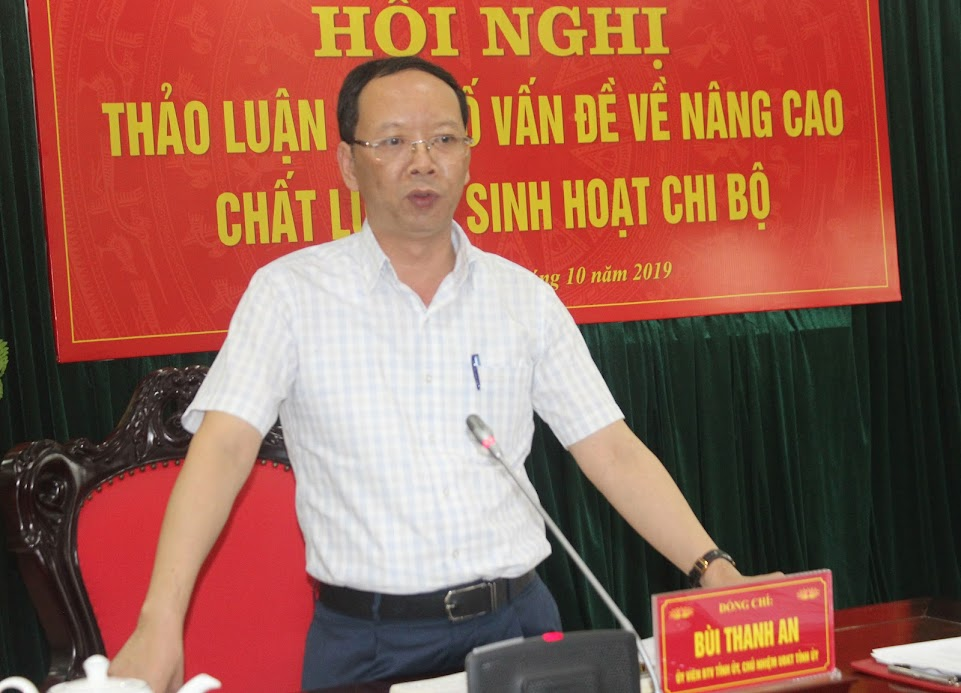 Đồng chí Bùi Thanh An, Uỷ viên BTV Tỉnh ủy, Chủ nhiệm Uỷ ban Kiểm tra Tỉnh ủy quán triệt một số nội dung tại Hội nghị