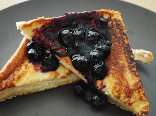 Banana Stuffed French Toast With Blueberry Compote