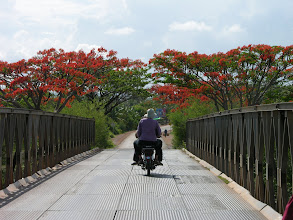 Photo: Suzanne on the back of our guide's bike, cruising around the Kampot region.