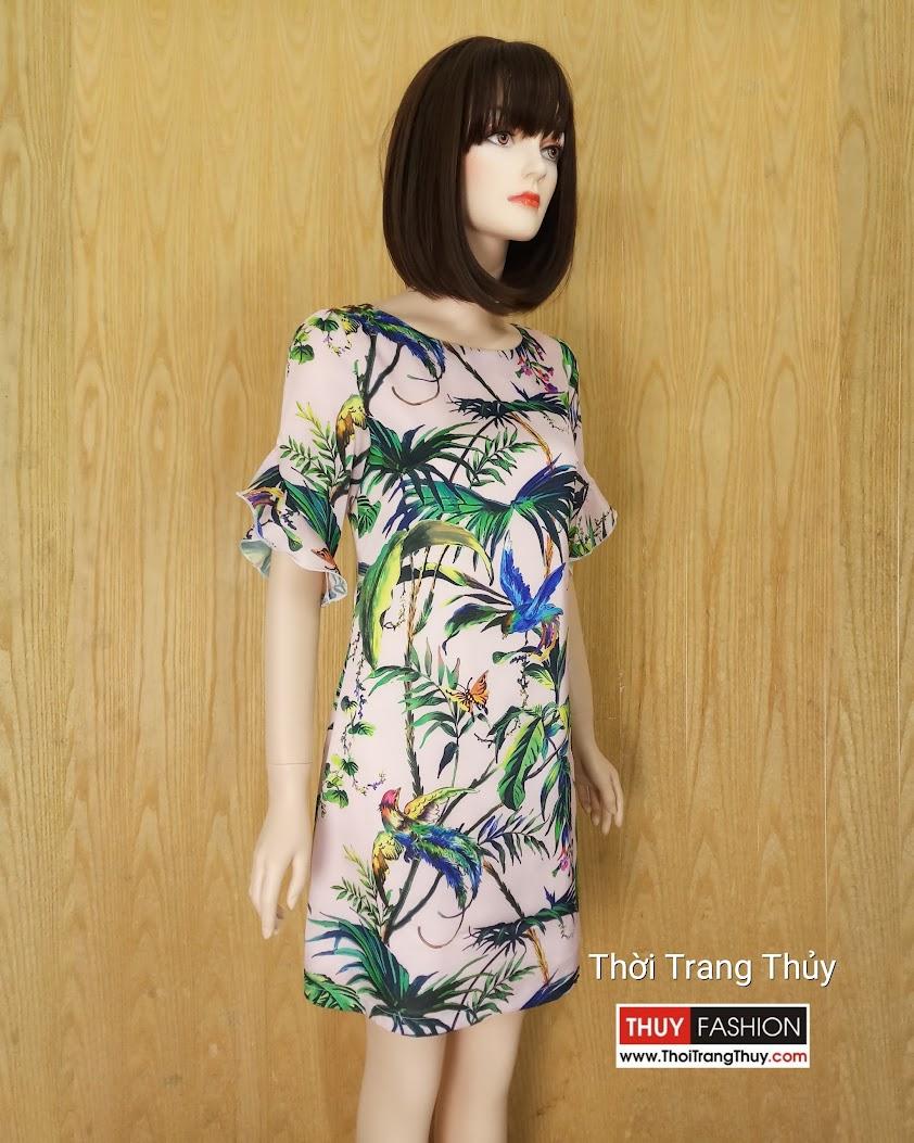 Váy suông tay loe họa tiết nhiệt đới mùa hè V602 tại Hải Phòng