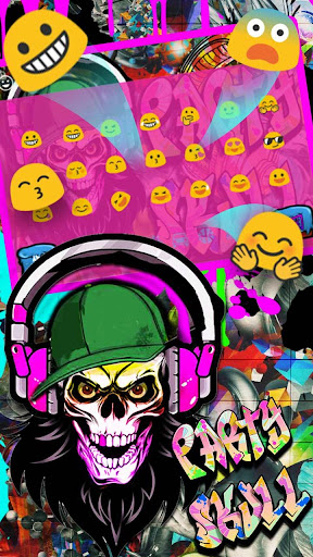 Graffiti Party Skull Keyboard Theme 10001004 screenshots 2
