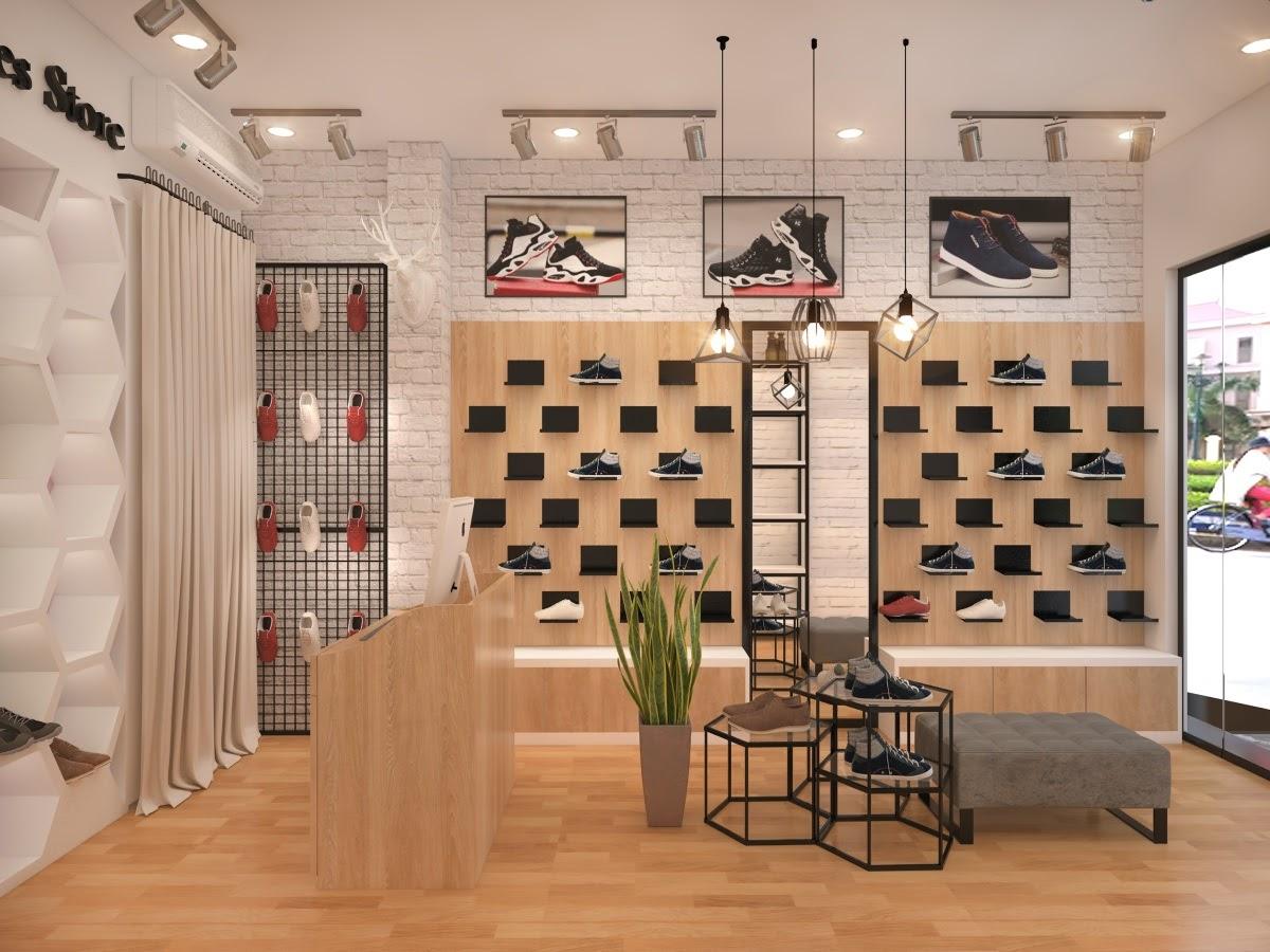 Thiết kế cửa hàng giày dép trẻ trung đơn giản