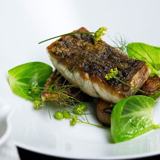 Crispy Barramundi with Sprouts, Pancetta and a Prawn Head Broth