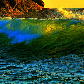Evening colors by Gaylord Mink - Landscapes Waterscapes ( bay, sunset, wave, rocks )