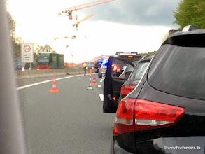 Photo: Eine Vollsperrung der Autobahn machte die Anreise sehr spannend. so kamen wir erst 15 Minuten vor Heinz`Lauf in Aschaffenburg an