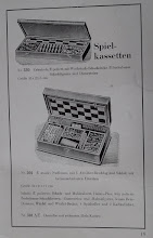 Photo: Uhlig catalogue c1913, p.19  Compendium of games (No.330 alder-wood, well-polished, oil-cloth chess board, first-class boxwood chess/draughts-men; No.301 solid walnut, lock, loose boxes; No.301AE - oak case)