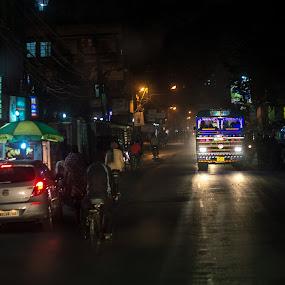 Street at Night by Prabir Adhikary - City,  Street & Park  Street Scenes ( night photography, street, street at night, low light photography, night street, night shot, nightscape )