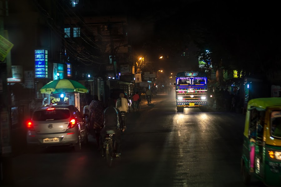 Street at Night by Prabir Adhikary - City,  Street & Park  Street Scenes ( night photography, street, street at night, low light photography, night street, night shot, nightscape )