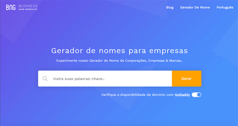 pagina inicial do business name generator