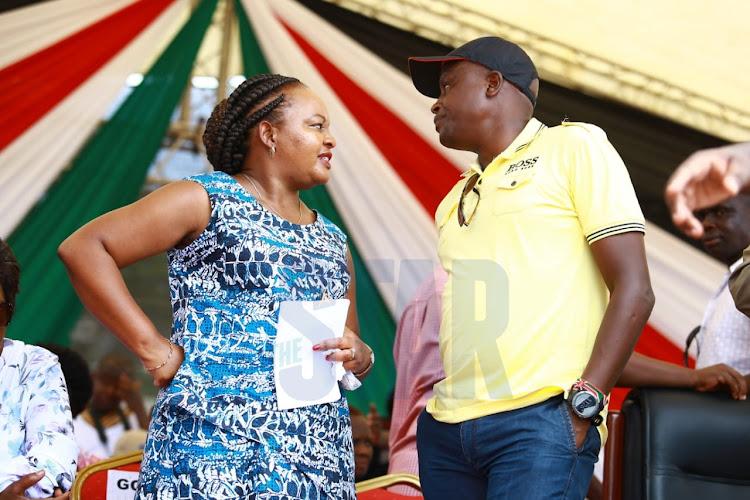 Kirinyaga Governor Anne Waiguru and Kieni MP Kanini Kega at the BBI rally at Mama Ngina Waterfront Park in Mombasa on Saturday, January 25, 2020.