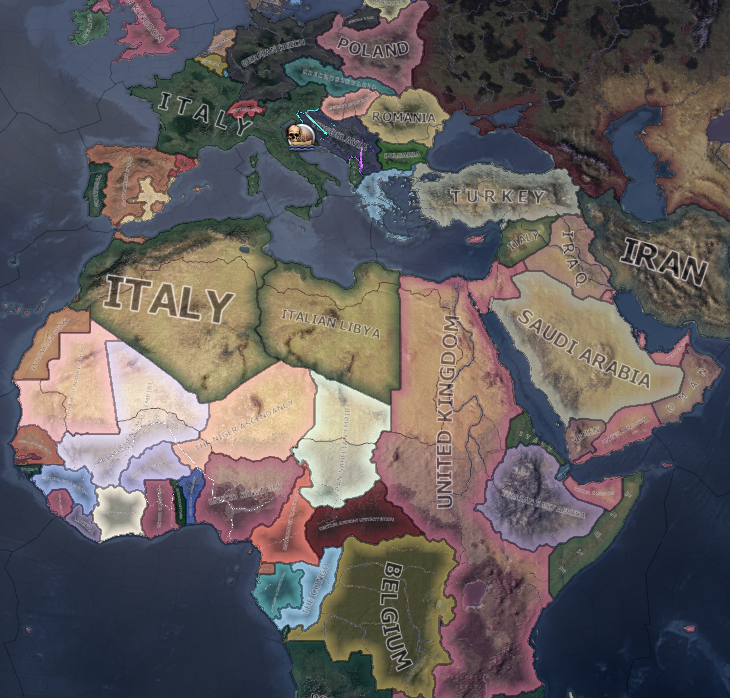 The result after the war with France to restore the Roman Empire in Hearts of Iron IV.