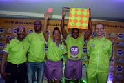 Former top SA referee Enoch Molefe ,Victor Hlongwane,Safa Female referee Akhona Makalima ,Zakhele Siwela and Victor Gomes during the Outsurance sponsorship to SAFA referees Announcement at SAFA House on September 11, 2018 in Johannnesburg, South Africa.