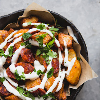 Potatoes Bravas With Chorizo, Fried Eggs and Garlic Aioli.