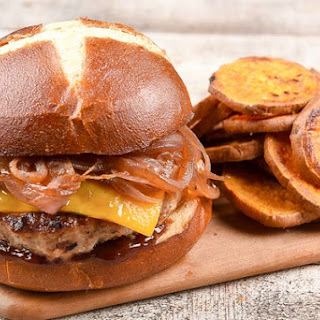 BBQ Turkey Burger with cheddar, caramelized onion, and sweet potato cottage fries