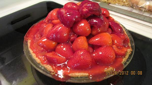 I Cut My Strawberries In Half To Make It Easier To Stir The Jell Into Them And To Put Them In The Pie. 5/26/12