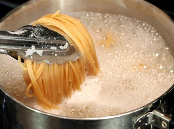 Bring well salted water to boil for fettuccine. Saving 1/2 cup pasta water for...