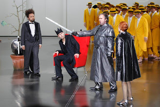 Photo: Samuel Youn (L-R), Georg Zeppenfeld, Hans-Joachim Ketelsen and Evelyn Herlitzius perform during the rehearsal of the opera ''Lohengrin'' by Richard Wagner in Bayreuth, southern Germany July 17, 2010. The opera Lohengrin is the start of this year's Wagner festival on July 25, 2010 and will run until August 28. Picture taken July 17, 2010.  REUTERS/Michaela Rehle (GERMANY - Tags: ENTERTAINMENT)