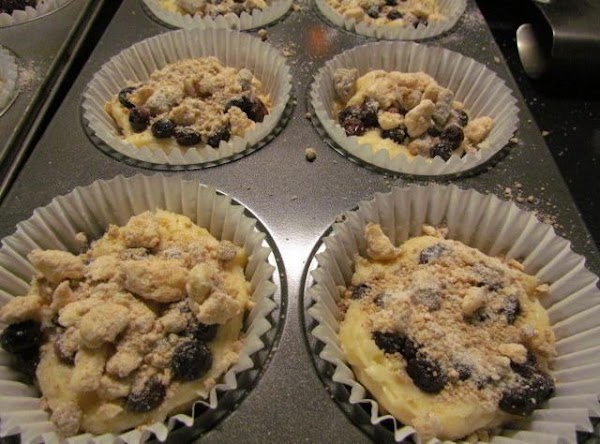 Place your patted dry blueberries onto the top of the last half of batter...