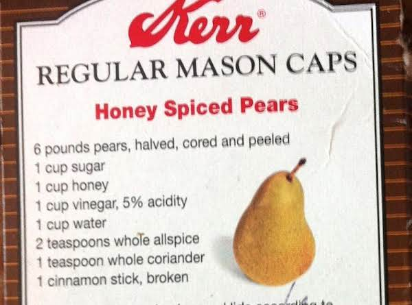 Canned Honey Spiced Pears