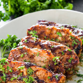 Mustard Balsamic Pork Chops with Rosemary.