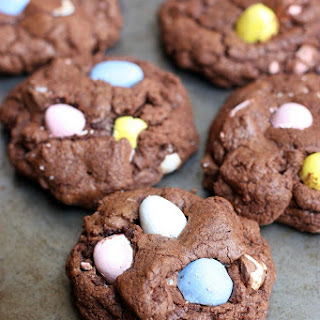Chocolate Cadbury Egg Cookies.