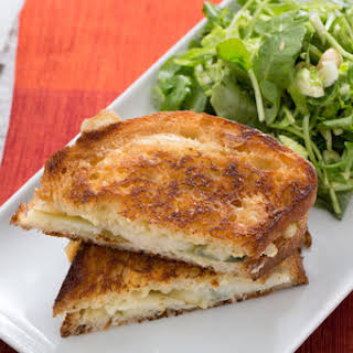 Brie & Pear Grilled Cheese Sandwiches with Brussels Sprout, Arugula & Hazelnut Salad.
