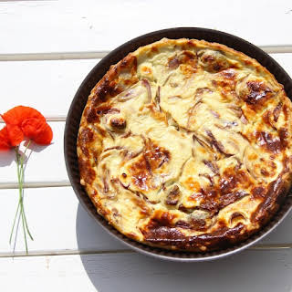 Caramelized Red Onion Goat Cheese Light Quiche.