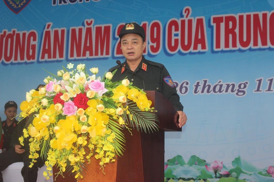 Đồng chí Trung tướng, Tiến sĩ Phạm Quốc Cương - Bí thư Đảng ủy, Tư lệnh CSCĐ phát biểu chỉ đạo buổi diễn tập