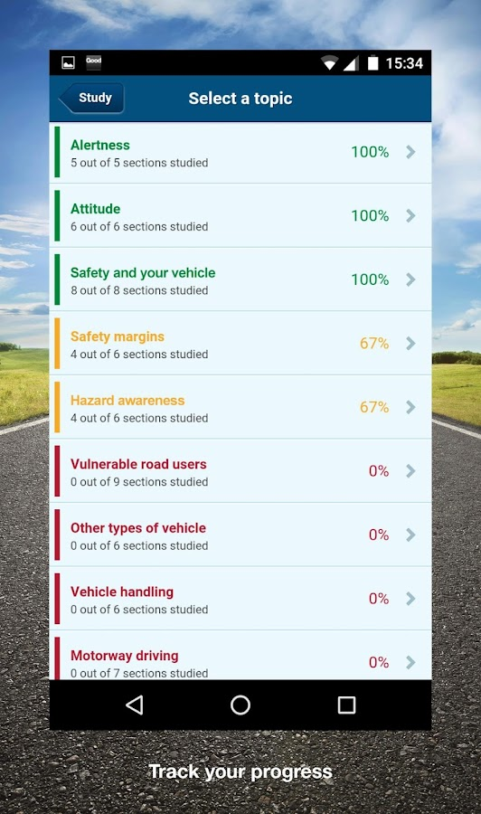 driver driving theory test screen